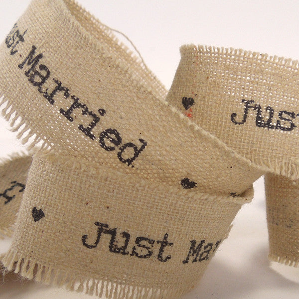22 mm Just Married Linen Wedding Ribbon, 7/8 inch Frayed Edge Linen and Cotton Wedding Tape - Fabric and Ribbon