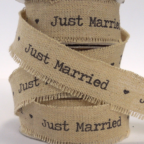 22 mm Just Married Linen Wedding Ribbon, 7/8 inch Frayed Edge Linen and Cotton Wedding Tape