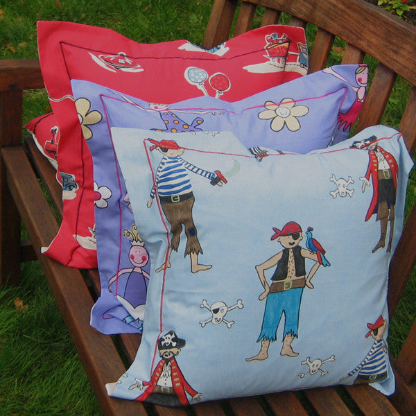 Children's Blue Pirates Cushion, Child's Pillow Handmade in a Blue Pirate Cotton, 21 inch x 21 inch, 53 cm x 53 cm - Fabric and Ribbon