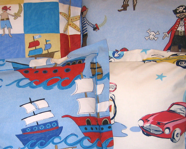 Boy's White Classic Cars Cushion, Children's Cushion Handmade in a White Retro Car Cotton - Fabric and Ribbon