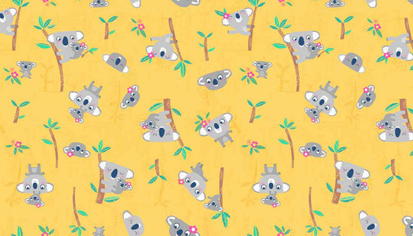 Koalas on Yellow Cotton Fabric by Makower from their Flo's Friends Collection, Child's Yellow Koala Fabric