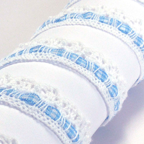 15 mm Blue Gingham Ribbon and White Cotton Lace , 5/8 inch  Lace and Blue Ribbon