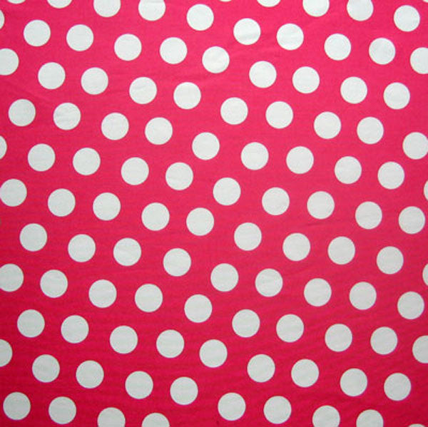 White on Pink Fuchsia Large Polka Dot Fabric by Timeless Treasures