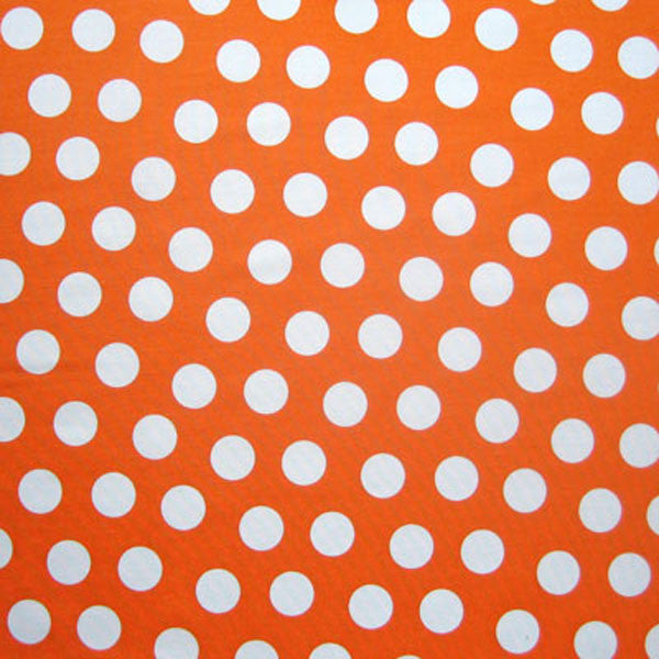 White on Orange Large Polka Dot Fabric