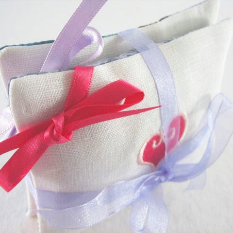 Lavender Sachets, A Pair of Lavender Pillows, Handmade in Liberty Print and Pure Linen Fabric - Fabric and Ribbon
