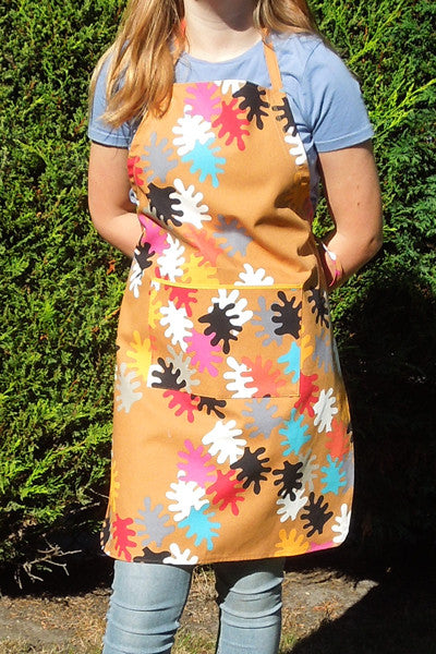 Ladies Personalised Leaf Pattern Apron, Adult's Multicoloured Leaf Apron with Pocket, Handmade in Pure Cotton