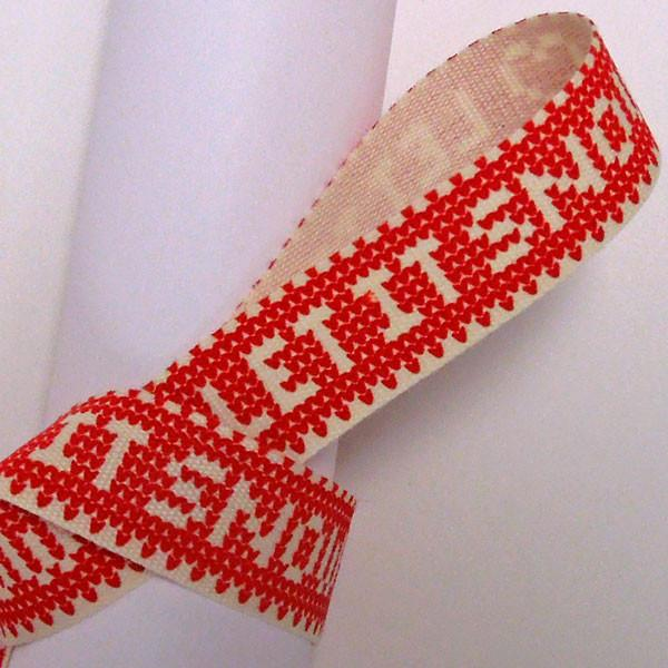 15 mm Red Let It Snow Christmas Cotton Ribbon, 5/8 inch Red and Cream Knitted Let It Snow Cotton Tape