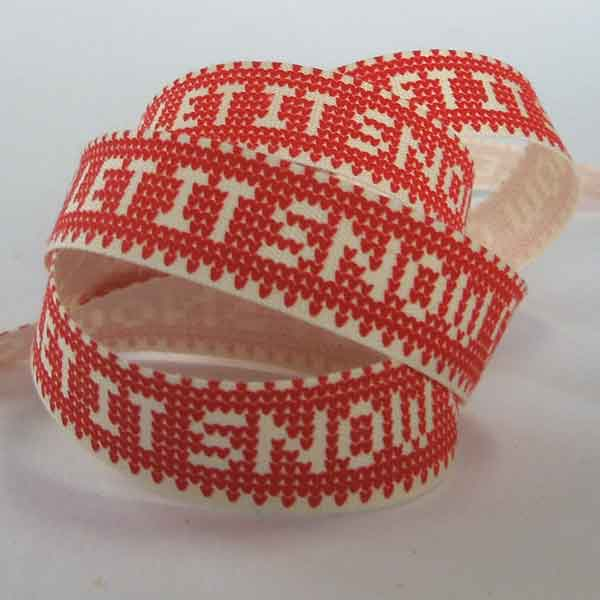 15 mm Red Let It Snow Christmas Cotton Ribbon, 5/8 inch Red and Cream Let It Snow Cotton Tape