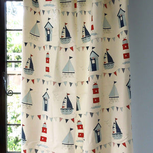 Blue Maritime Cotton Furnishing Fabric, Beach Huts, Dinghies and Lighthouse Seaside Fabric - Fabric and Ribbon