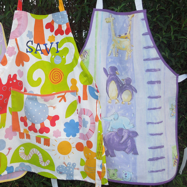 Toddler's Noah's Ark Lilac Personalised Apron with Pocket, Handmade, Ages 2 - 6 yrs
