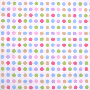 Lilac, Pink, Pale Blue Spotty Fabric by Globaltex