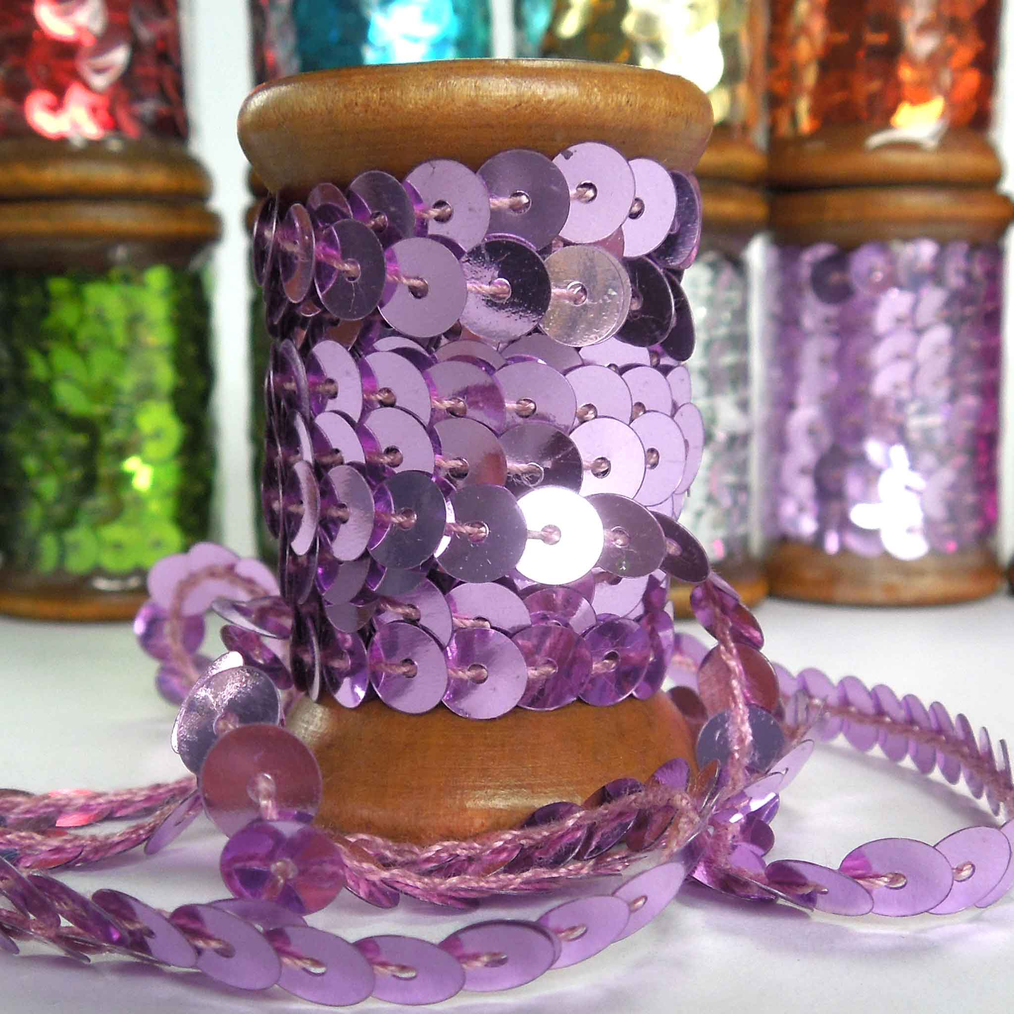6 mm Lilac Sequin Trim on Wooden Bobbin 3 metres