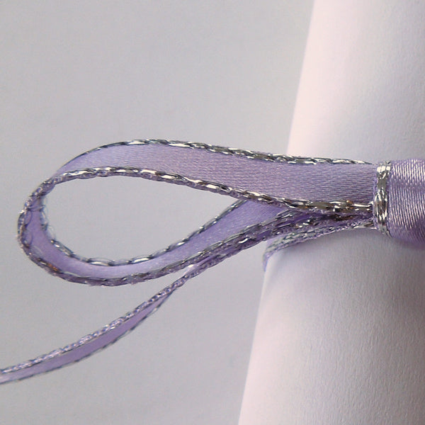 7 mm Lilac Silver Edged Satin Ribbon  by Berisfords, 5/16 inch Orchid and Silver Metallic Fabric Ribbon