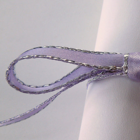 7 mm Lilac Silver Edged Satin Ribbon  by Berisfords, 5/16 inch Orchid and Silver Metallic Fabric Ribbon - Fabric and Ribbon