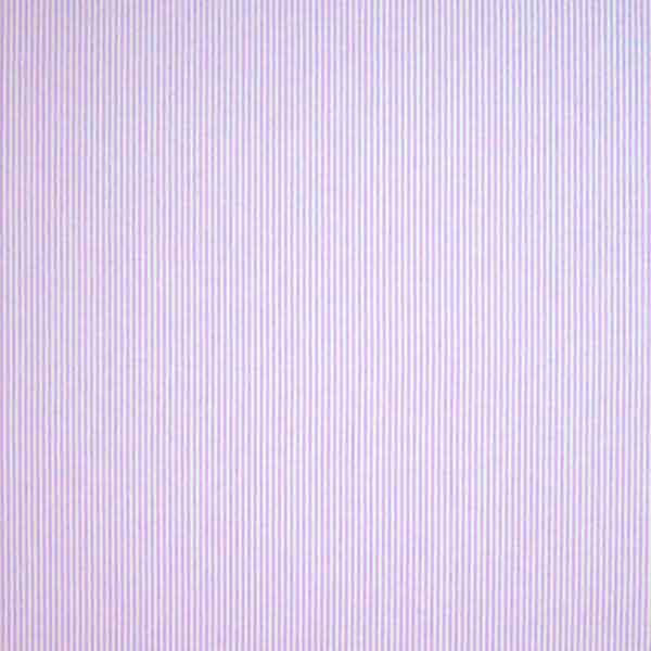 Lilac Stripe Cotton Fabric, Lilac and White Narrow Striped Fabric