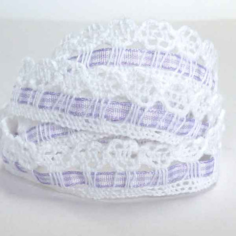 15 mm Lilac Gingham Ribbon and White Cotton Lace , 5/8 inch  Lace and Lilac Ribbon - Fabric and Ribbon