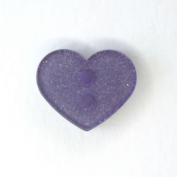 13mm Lilac Glitter Heart Button Reverse