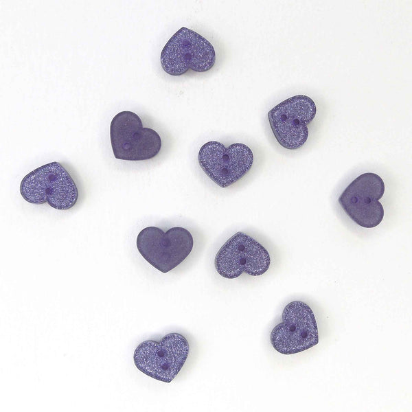 13mm Lilac Glitter Heart Button