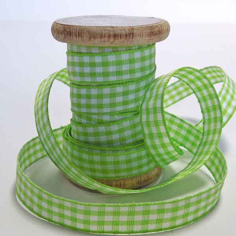 Green Gingham Ribbon on Wooden Spool