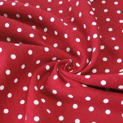Red Polka Dot Pure Linen Fabric - Fabric and Ribbon