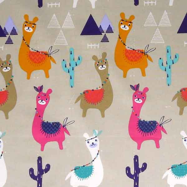 Bright LLama and Cactus Cotton Fabric, LLamas on Natural Coloured Background