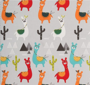 Red, Orange and Blue LLama and Cactus Fabric, Coloured LLamas on Grey Coloured Background Cotton Fabric