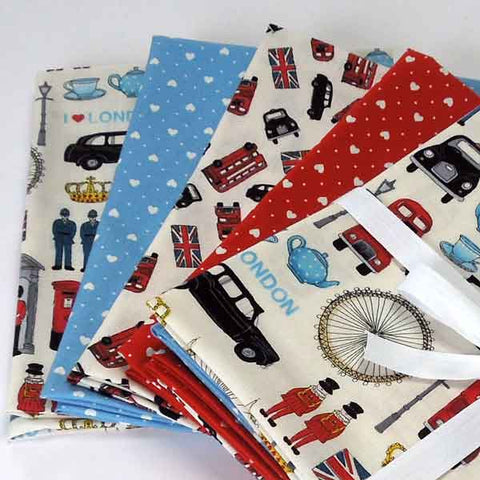 London Icons Fat Quarter Bundle, Makower Cotton Fat Quarter Pack