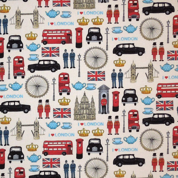 London Fabric, London Icons Cotton Fabric by Makower from their London Collection