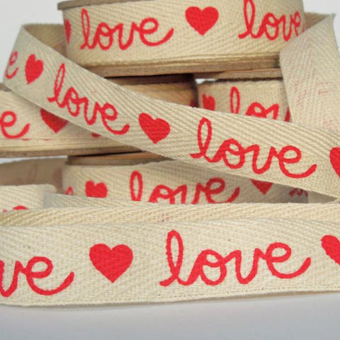 15 mm Red Love Hearts Cotton Ribbon, 5/8 inch Red Love and Hearts Cotton Tape - Fabric and Ribbon