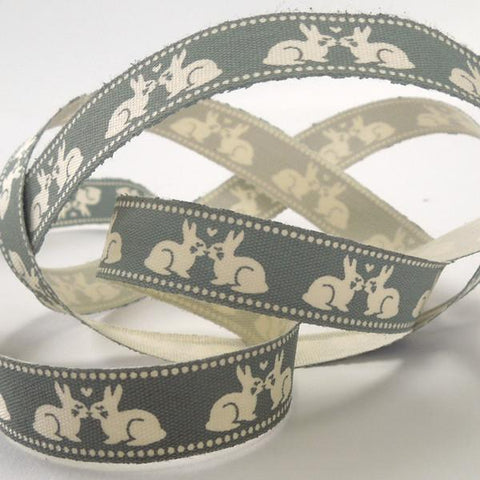 15 mm Grey and Cream Kissing Rabbit Ribbon, 5/8 inch Kid's Rabbit Cotton Tape