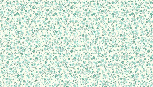 Turquoise Small Flower Fabric, by Makower 1905/T, Katie Jane Collection - Fabric and Ribbon