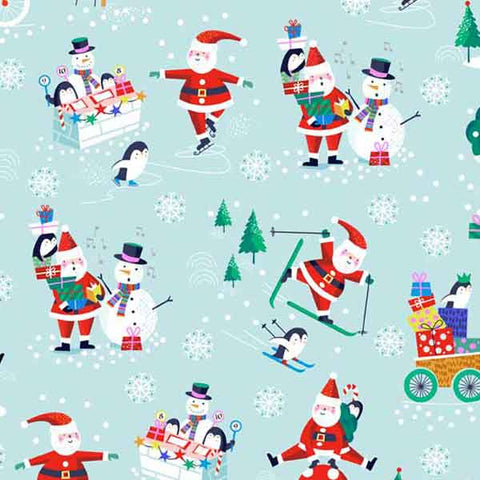 Christmas Jolly Santa Scenic Fabric by Makower from their Xmas Jolly Santa Collection, Kid's Father Christmas on Blue Cotton Fabric