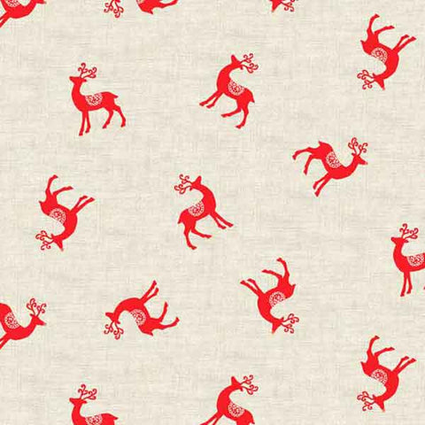 Christmas Red Reindeer Cotton Fabric by Makower from their Scandi Collection, Red Xmas Reindeer on White Fabric,