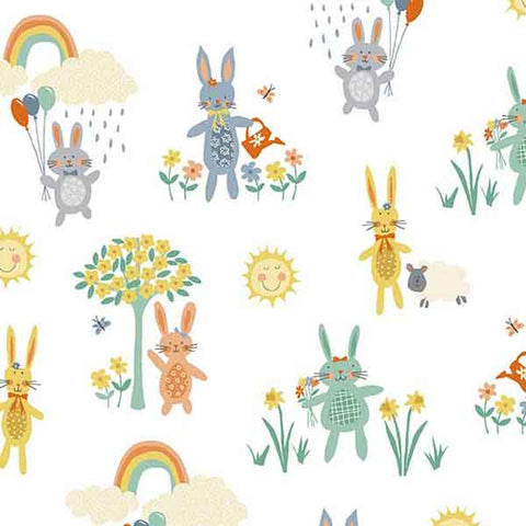 White Bunnies Fabric by Makower 2017/W from their Counting Sheep Collection