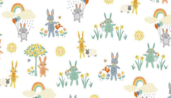 Kid's White Bunnies Cotton Fabric by Makower from their Counting Sheep Collection, Baby Bunny Rabbit Cotton Fabric