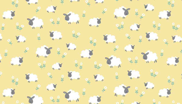 Baby Yellow Sheep Cotton Fabric by Makower from their Counting Sheep Collection