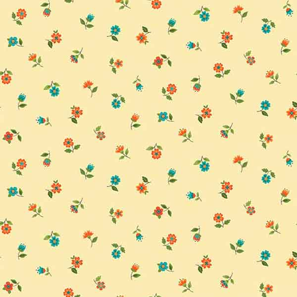 Cream Floral Scatter Fabric by Makower from their Bloom Collection, 2030/N,