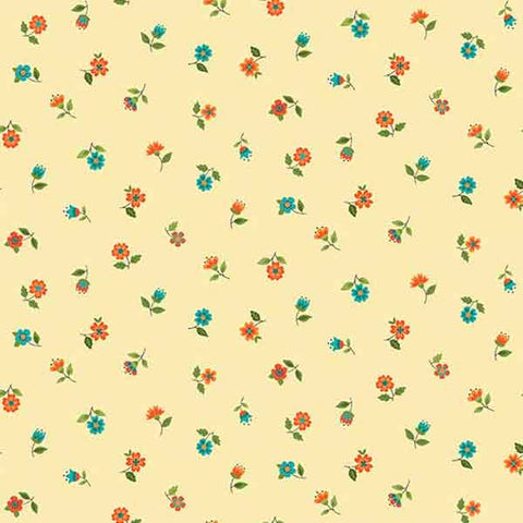 Cream Floral Scatter Fabric by Makower 2030/N from their Bloom Collection