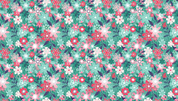 Floral Blue Cotton Fabric by Makower 1945/B from their Fruity Friends Collection, Blue Flower Fabric