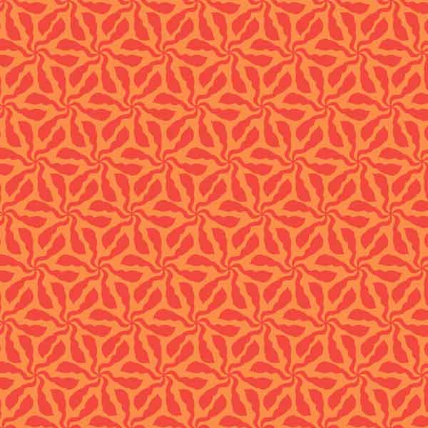 Orange Flower Fabric, Swirly Whirly Orange Cotton Fabric by Makower from their Sundance Collection for Patchwork and Crafts