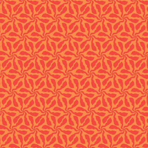 Orange Flower Fabric, Swirly Whirly Orange Cotton Fabric by Makower from their Sundance Collection
