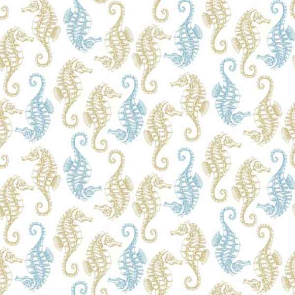 Blue Seahorse Cotton Fabric by Makower 1995/1, Beachcomber Collection - Fabric and Ribbon
