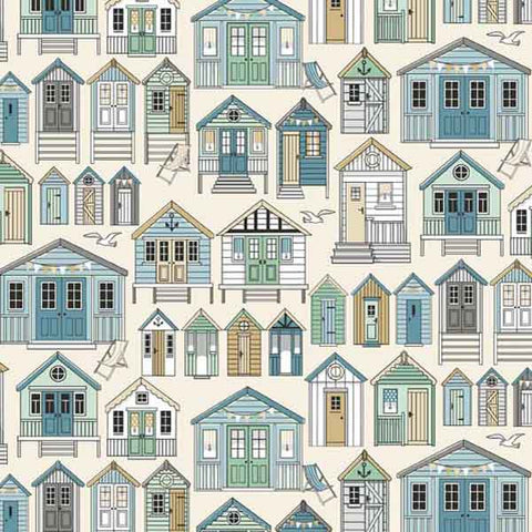 Blue Beach Huts on White Cotton Fabric by Makower 1988 from their Beachcomber Collection