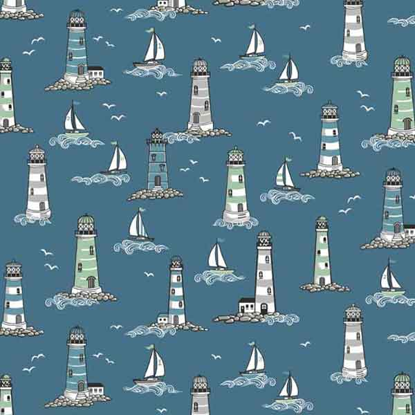 Blue Lighthouse Fabric by Makower from their Beachcomber Collection, Lighthouses and Boats on Blue Cotton Fabric
