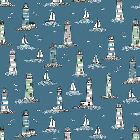 Blue Lighthouse Cotton Fabric by Makower 1990/1 from their Beachcomber Collection