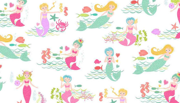 Girl's Mermaid Cotton Fabric by Makower from their Merryn Collection, Kid's Pink and Green Mermaid and Sea Cotton Fabric