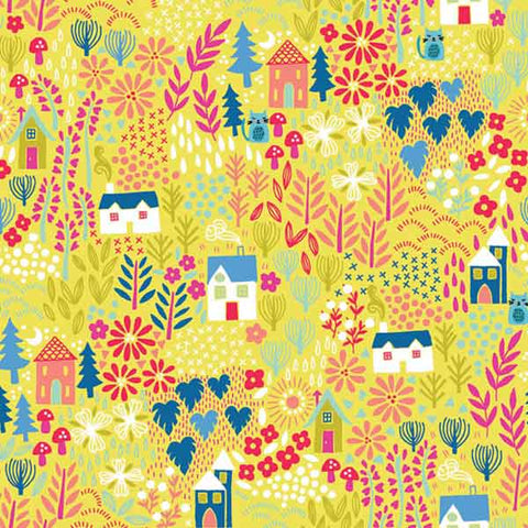 Yellow Cats in Gardens cotton fabric by Makower