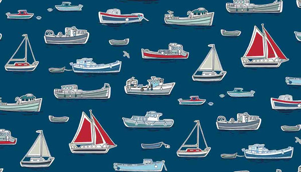 Dark Blue Boats Cotton Fabric by Makower from their Marina Collection, Red, Blue and White Boats on Dark Blue Cotton Fabric