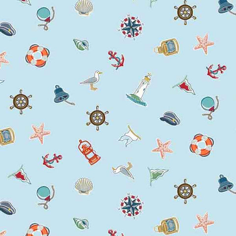 Blue Icons Scatter Cotton Fabric by Makower 1771/B from their Marina Collection,