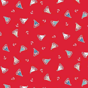 Red Yachts Cotton Fabric by Makower 1773/R from their Marina Collection - Fabric and Ribbon